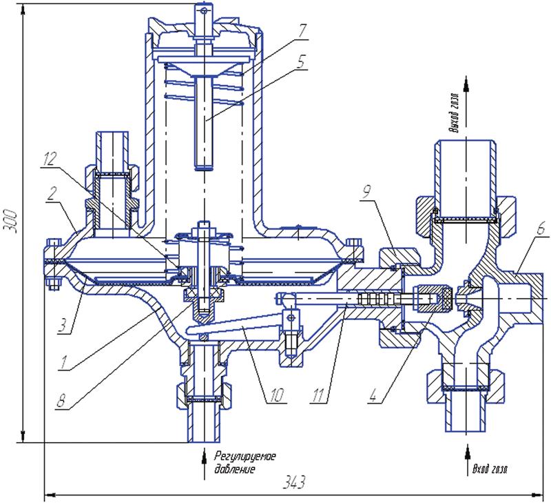 регулятор давления газа мембранный